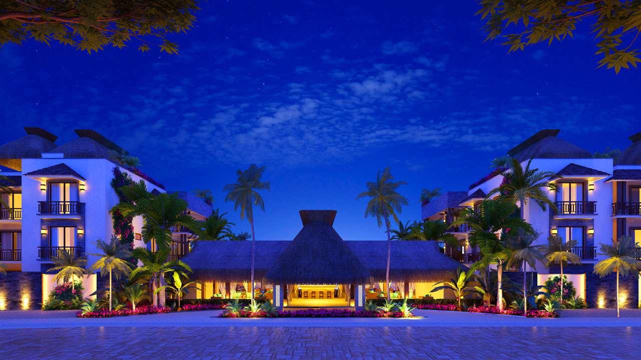 KASA Residences Ceiba Tulum - Vista Frontal de la Recepción por la Noche