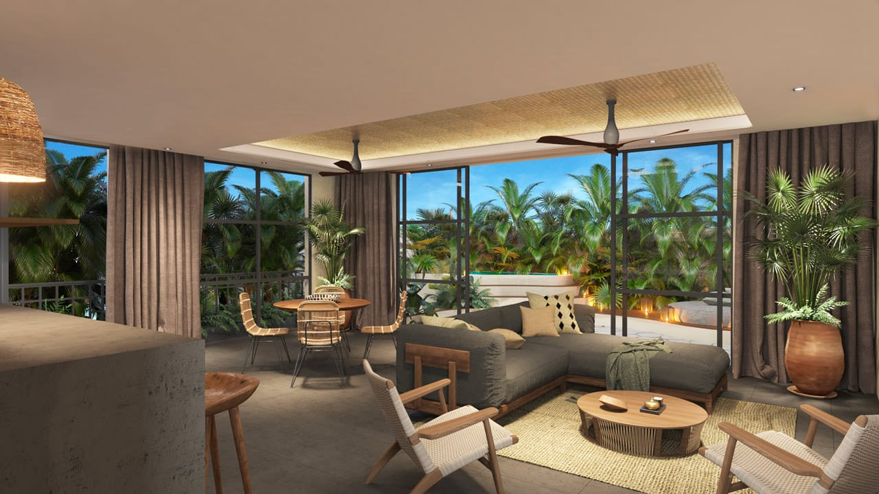 KASA Residences Tzalam Tulum - Luxury Living Room