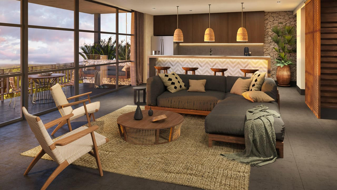 KASA Residences Tzalam Tulum - Luxury Living Room with Terrace